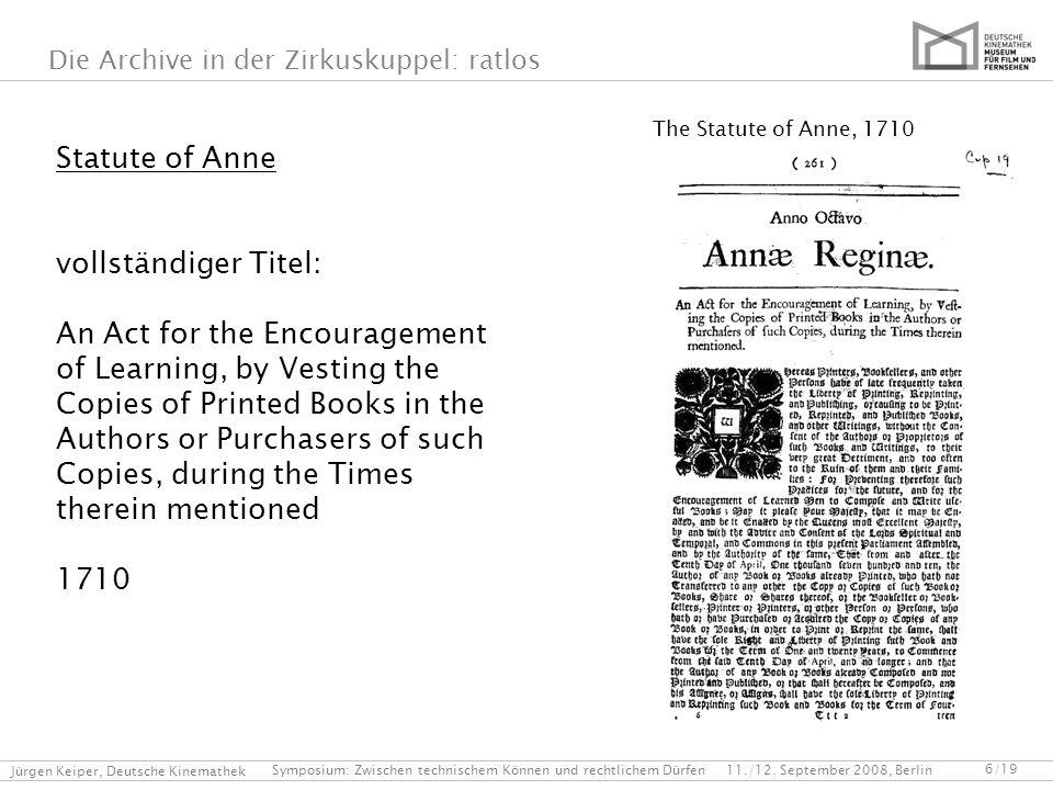 Statute of Anne vollständiger Titel: