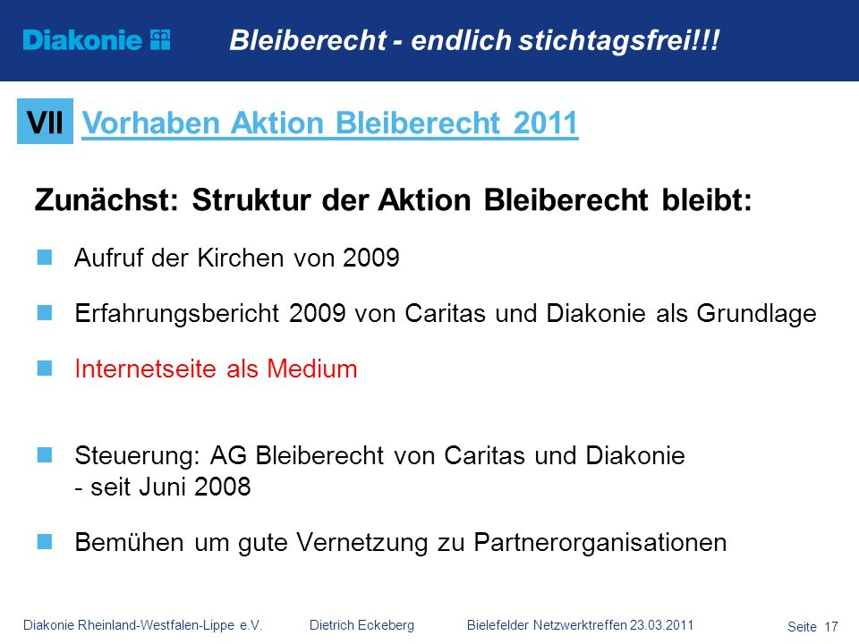 Vorhaben Aktion Bleiberecht 2011
