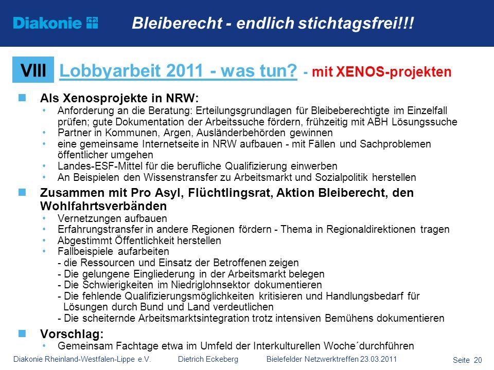 Lobbyarbeit 2011 - was tun - mit XENOS-projekten