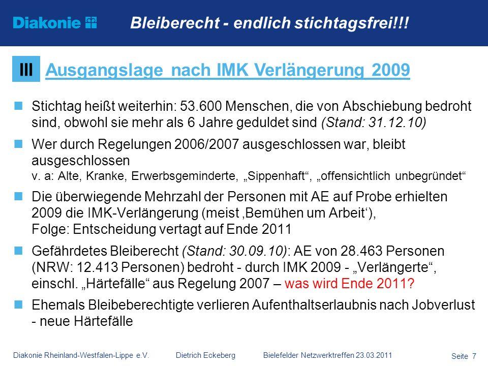 Ausgangslage nach IMK Verlängerung 2009