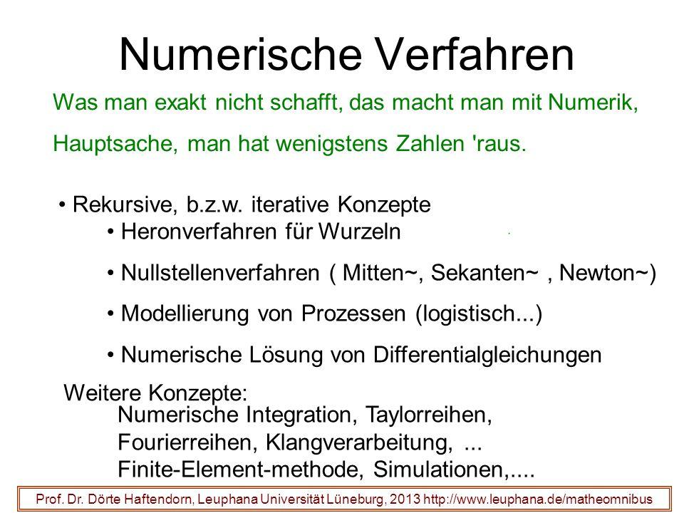 Numerische VerfahrenWas man exakt nicht schafft, das macht man mit Numerik, Hauptsache, man hat wenigstens Zahlen raus.