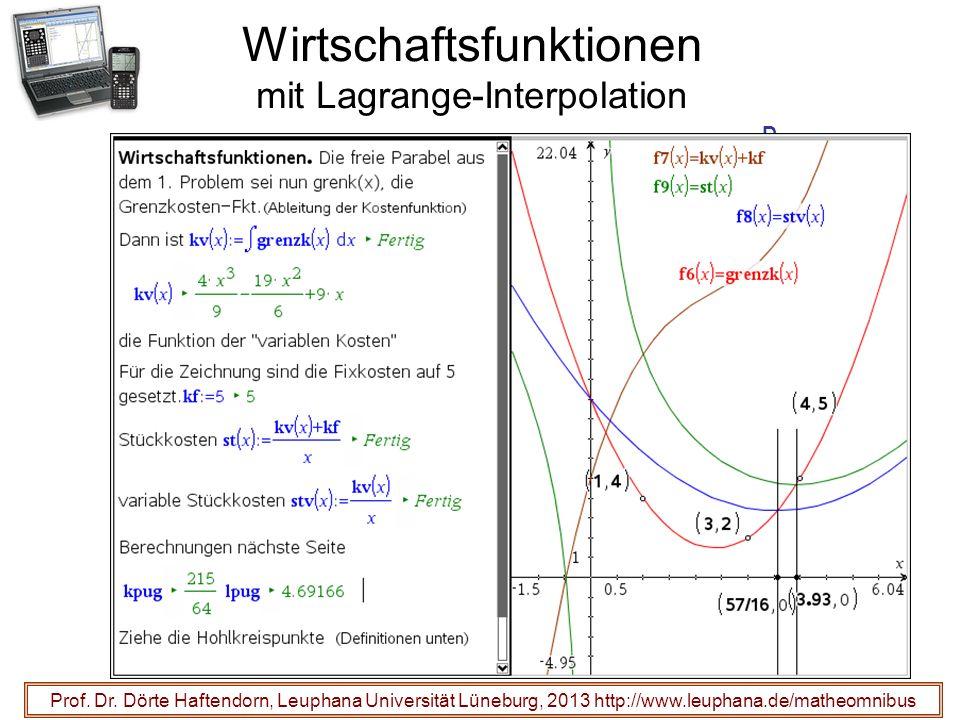 Wirtschaftsfunktionen mit Lagrange-Interpolation