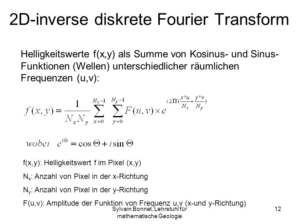2D-inverse diskrete Fourier Transform