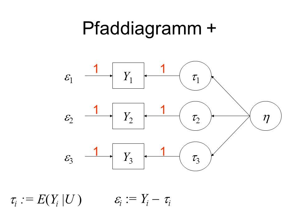Pfaddiagramm + i := E(Yi |U ) i := Yi  i 1 1 e1 Y1 t1 1 1 e2 Y2 t2