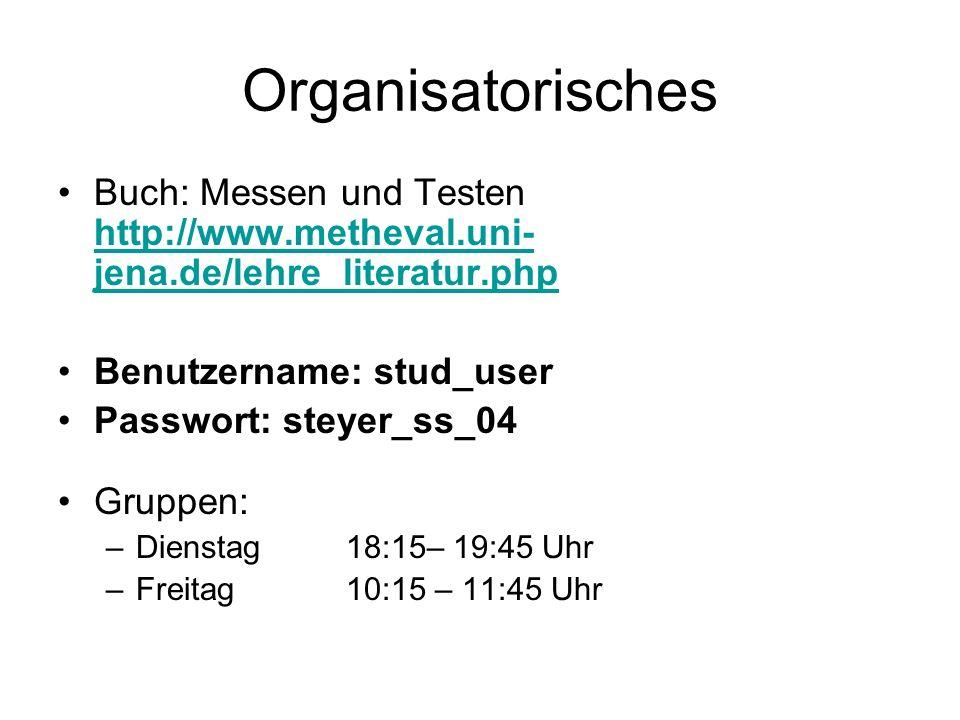 Organisatorisches Buch: Messen und Testen http://www.metheval.uni-jena.de/lehre_literatur.php. Benutzername: stud_user.
