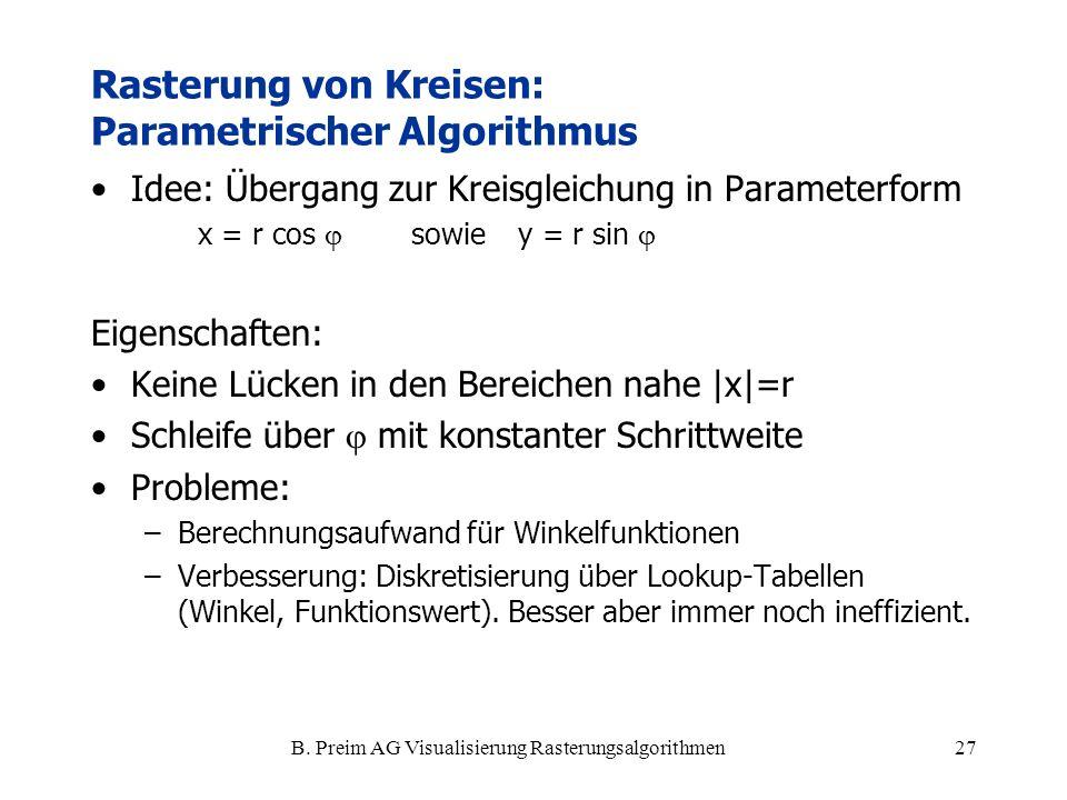 Rasterung von Kreisen: Parametrischer Algorithmus