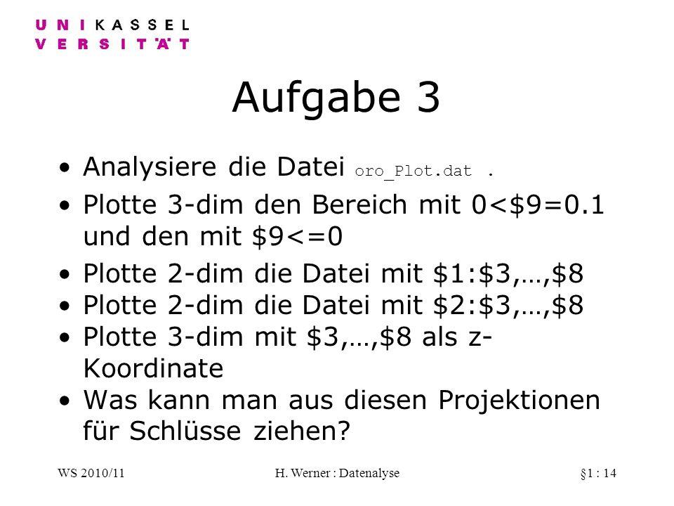 Aufgabe 3 Analysiere die Datei oro_Plot.dat .