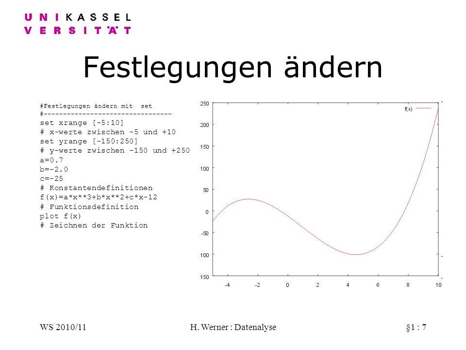 Festlegungen ändern WS 2010/11 H. Werner : Datenalyse