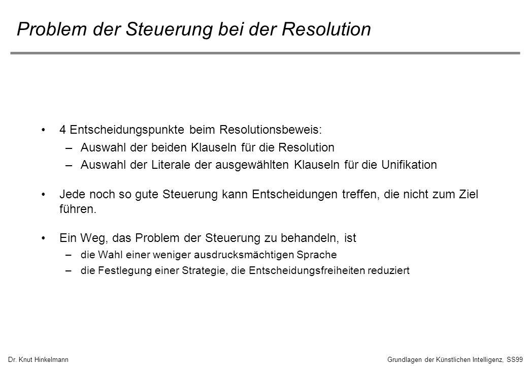 Problem der Steuerung bei der Resolution