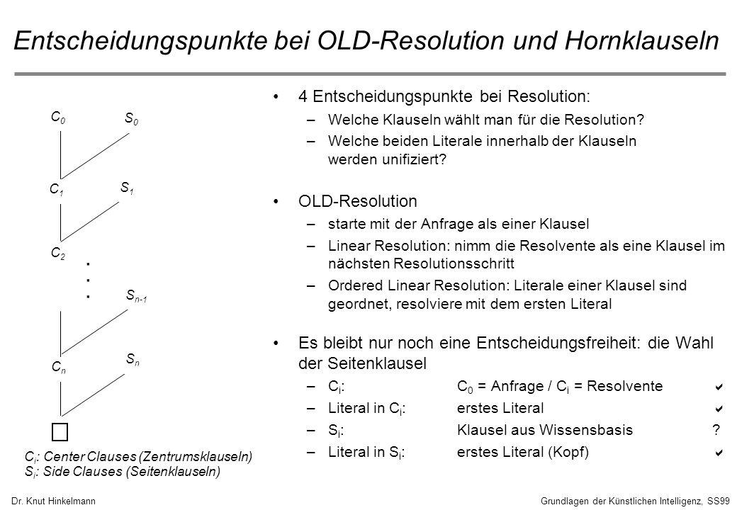 Entscheidungspunkte bei OLD-Resolution und Hornklauseln