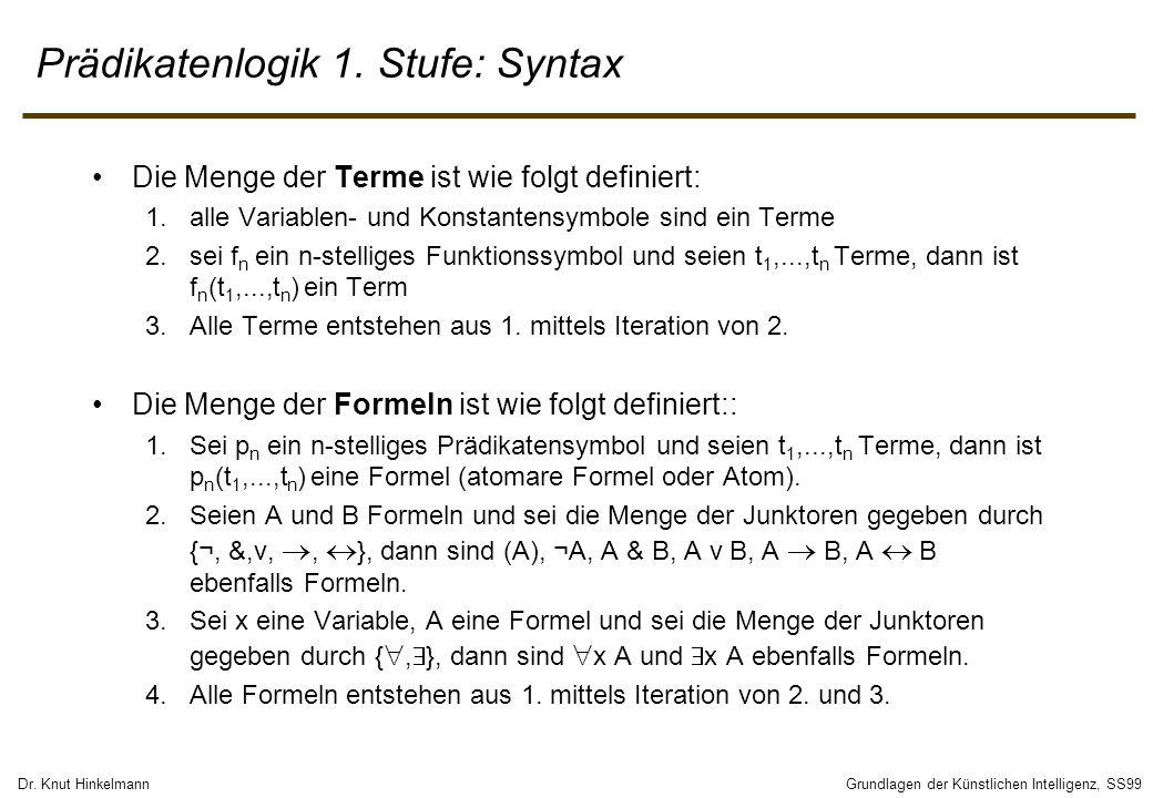 Prädikatenlogik 1. Stufe: Syntax