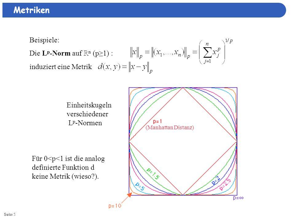 Metriken Beispiele: Die Lp-Norm auf ℝn (p≥1) : induziert eine Metrik