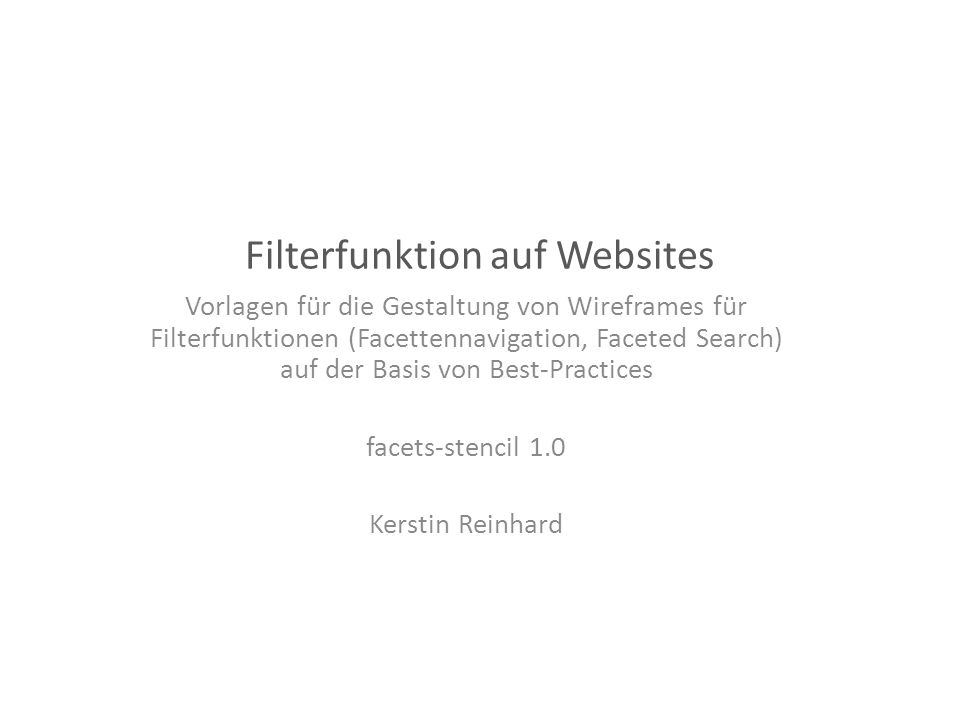 Filterfunktion auf Websites