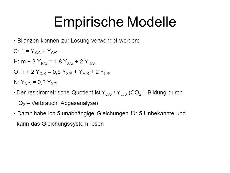 Empirische Modelle Bilanzen können zur Lösung verwendet werden: