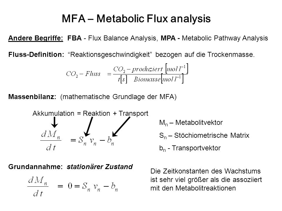MFA – Metabolic Flux analysis