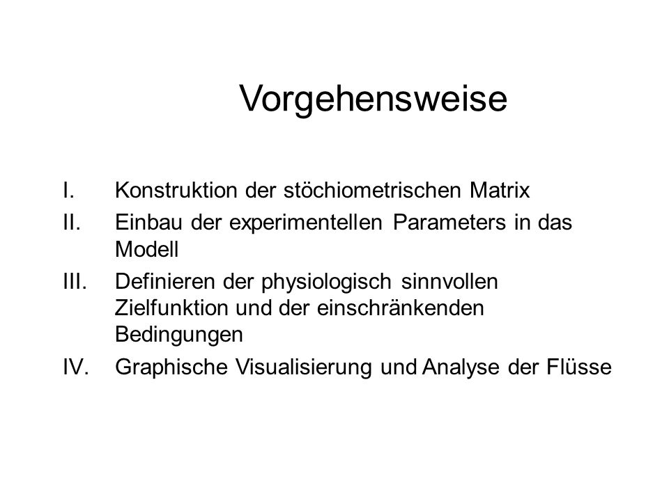 Vorgehensweise Konstruktion der stöchiometrischen Matrix