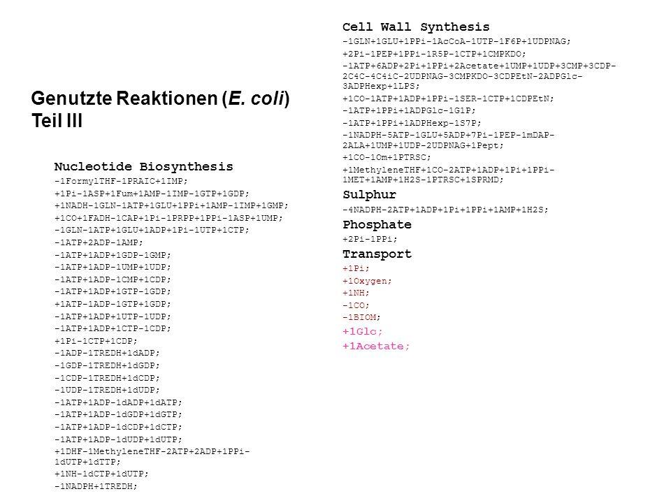 Genutzte Reaktionen (E. coli) Teil III