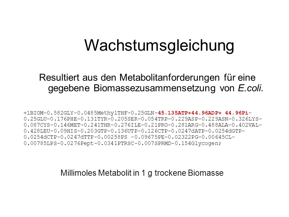 Millimoles Metabolit in 1 g trockene Biomasse