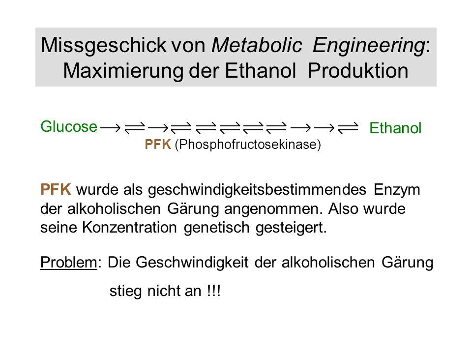 Missgeschick von Metabolic Engineering: Maximierung der Ethanol Produktion