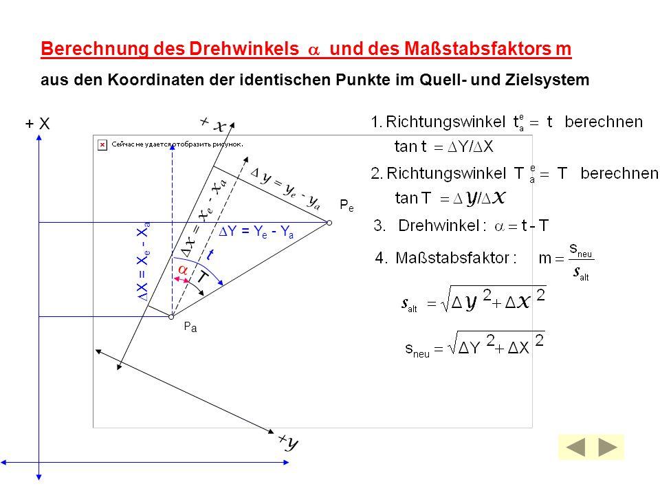 Berechnung des Drehwinkels a und des Maßstabsfaktors m