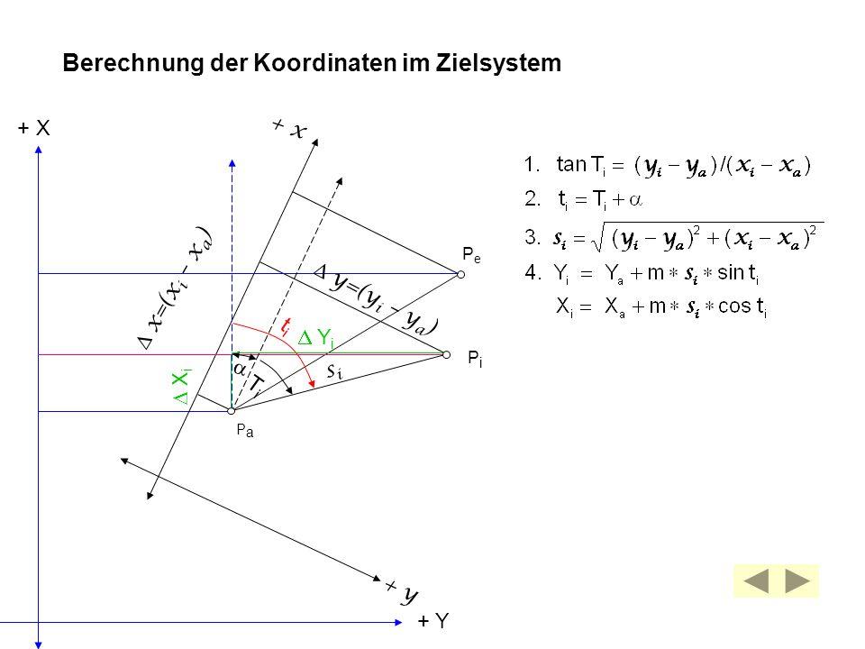 Berechnung der Koordinaten im Zielsystem