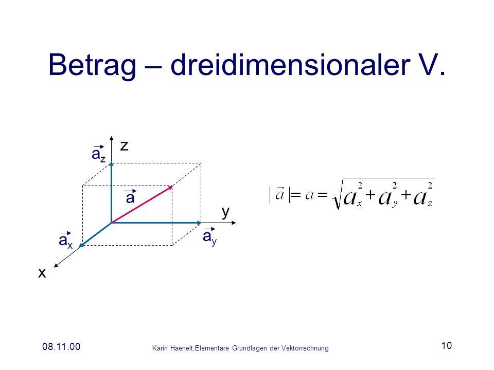Betrag – dreidimensionaler V.