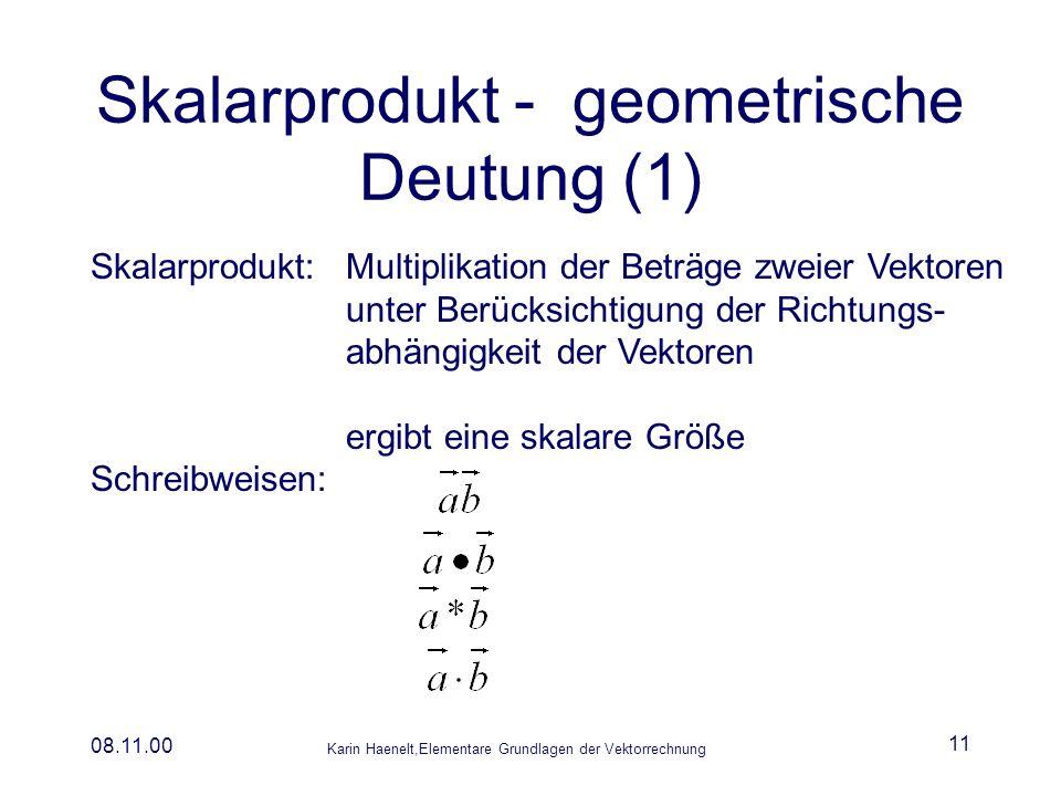 Skalarprodukt - geometrische Deutung (1)