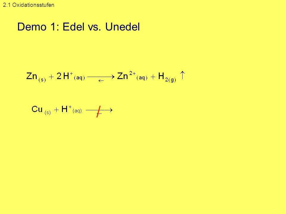 2.1 Oxidationsstufen Demo 1: Edel vs. Unedel /