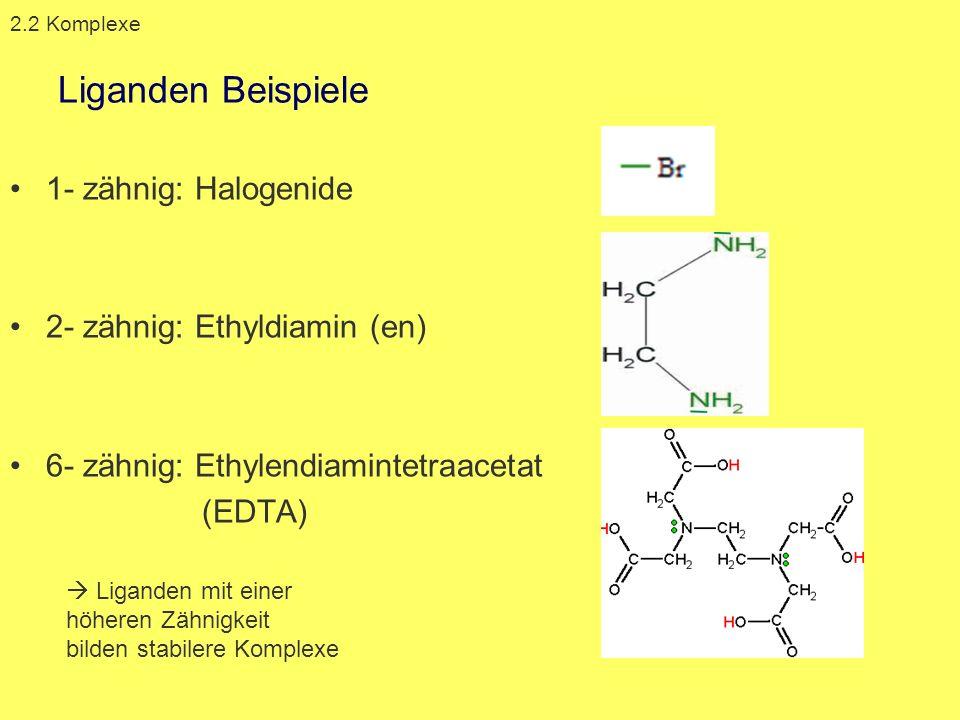 Liganden Beispiele 1- zähnig: Halogenide 2- zähnig: Ethyldiamin (en)