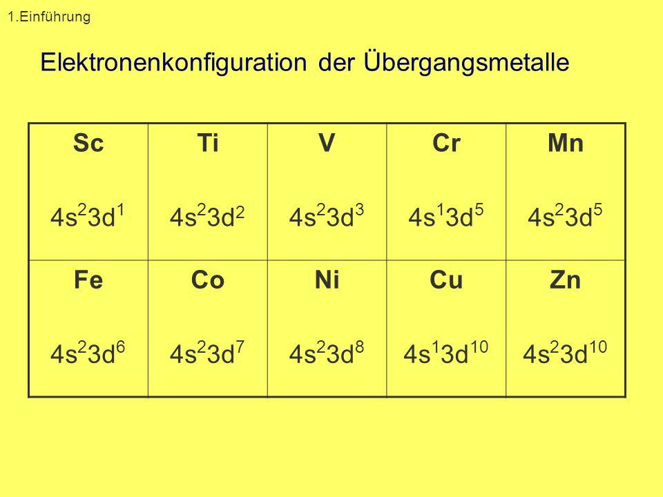 Elektronenkonfiguration der Übergangsmetalle
