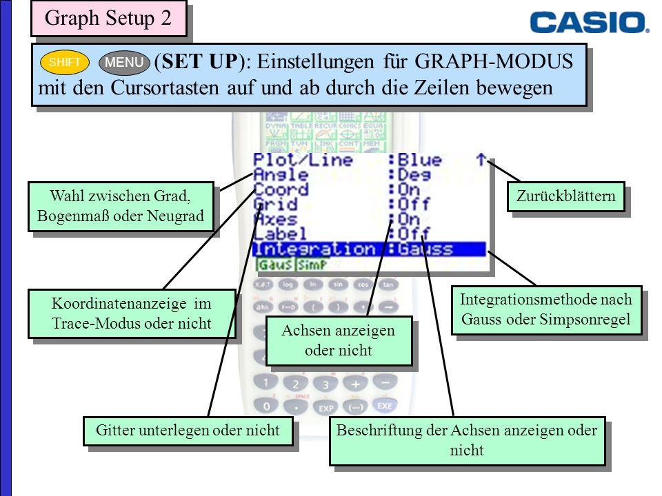 Graph Setup 2 25.03.2017. (SET UP): Einstellungen für GRAPH-MODUS mit den Cursortasten auf und ab durch die Zeilen bewegen.