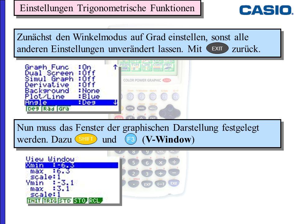 Einstellungen Trigonometrische Funktionen