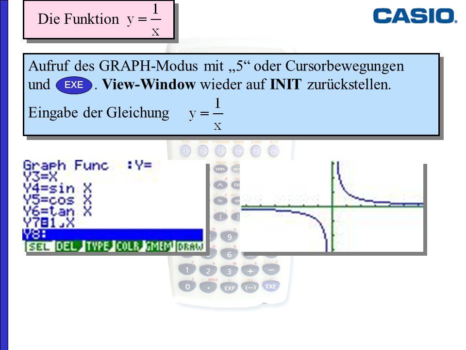 """Die Funktion 25.03.2017. Aufruf des GRAPH-Modus mit """"5 oder Cursorbewegungen und . View-Window wieder auf INIT zurückstellen."""