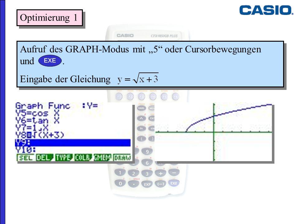 """Aufruf des GRAPH-Modus mit """"5 oder Cursorbewegungen und ."""