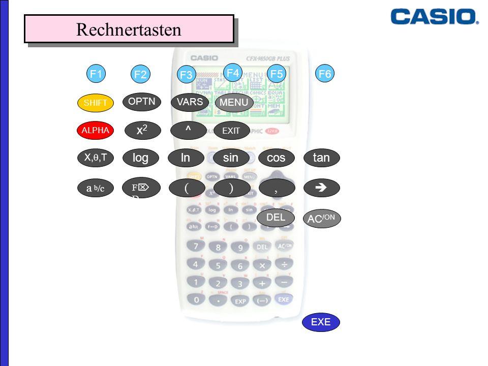 Rechnertasten x2 ^ log tan cos sin ln ( a b/c  , ) F1 F2 F3 F4 F5 F6