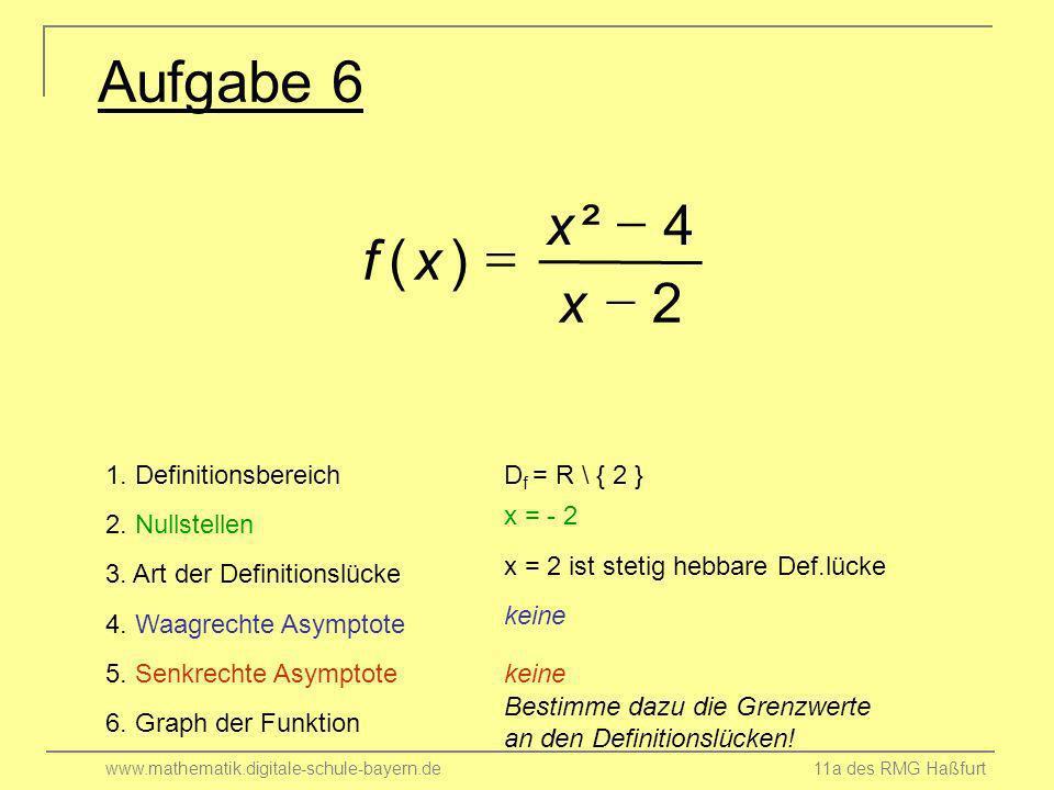 Aufgabe 6 2 4 ² ) ( - = x f 1. Definitionsbereich Df = R \ { 2 }