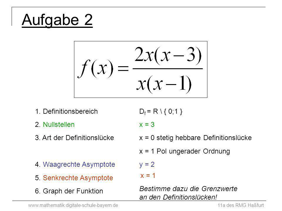 Aufgabe 2 1. Definitionsbereich Df = R \ { 0;1 } 2. Nullstellen x = 3