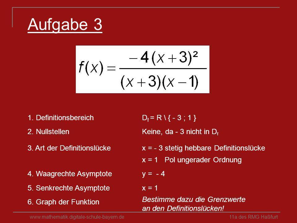 Aufgabe 3 1. Definitionsbereich Df = R \ { - 3 ; 1 } 2. Nullstellen
