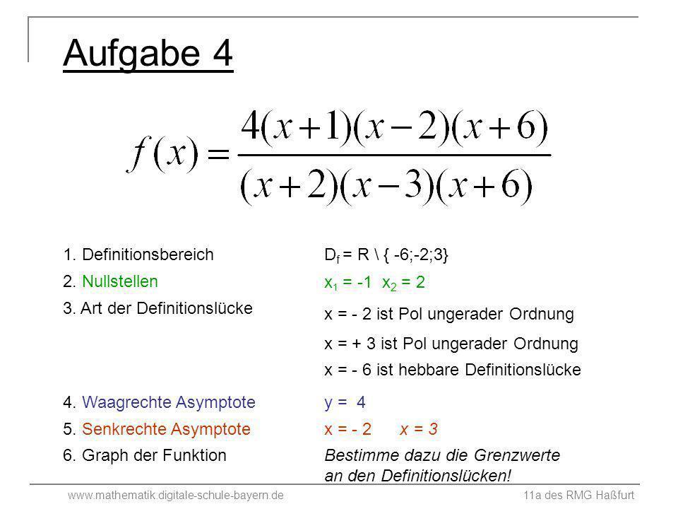 Aufgabe 4 1. Definitionsbereich Df = R \ { -6;-2;3} 2. Nullstellen
