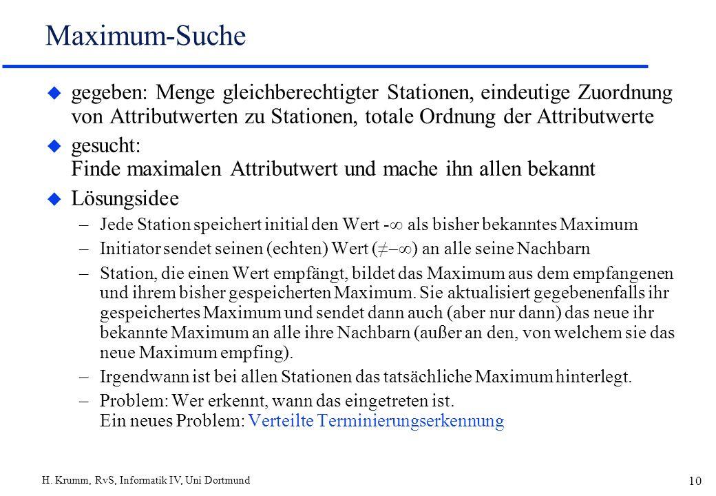 Maximum-Suche gegeben: Menge gleichberechtigter Stationen, eindeutige Zuordnung von Attributwerten zu Stationen, totale Ordnung der Attributwerte.