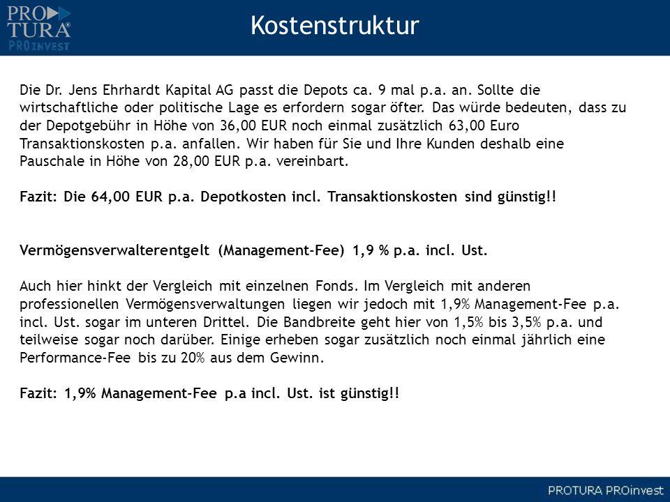 Kostenstruktur Die Dr. Jens Ehrhardt Kapital AG passt die Depots ca. 9 mal p.a. an. Sollte die.