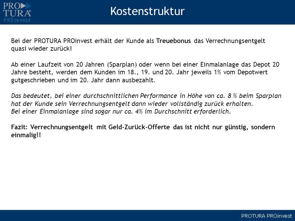 KostenstrukturBei der PROTURA PROinvest erhält der Kunde als Treuebonus das Verrechnungsentgelt. quasi wieder zurück!