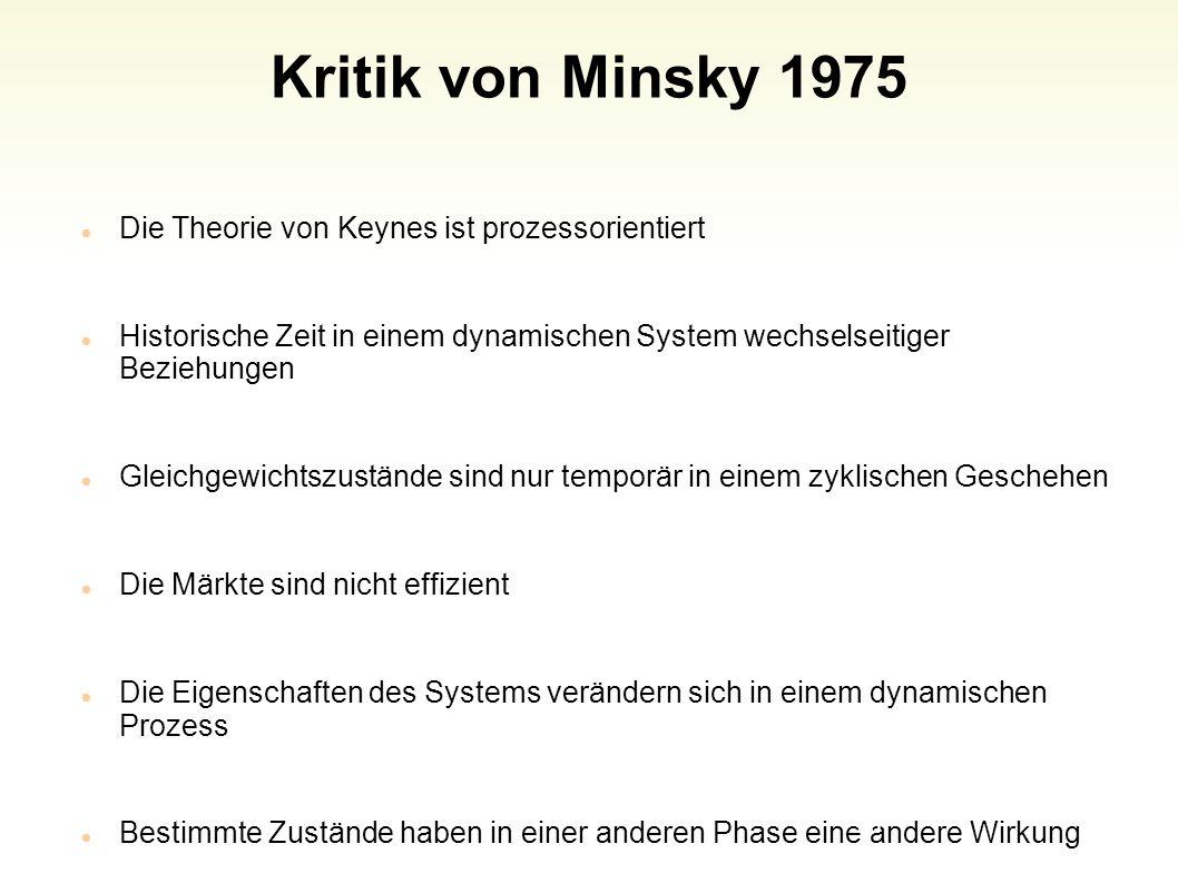 Kritik von Minsky 1975 Die Theorie von Keynes ist prozessorientiert