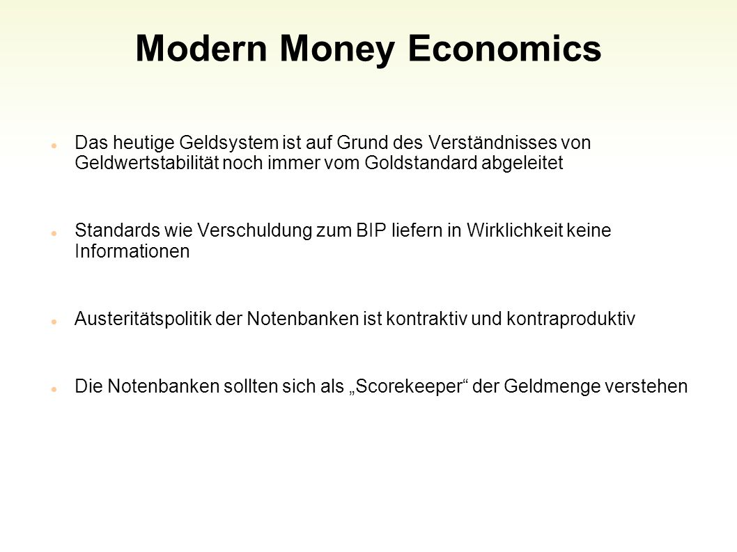 Modern Money Economics