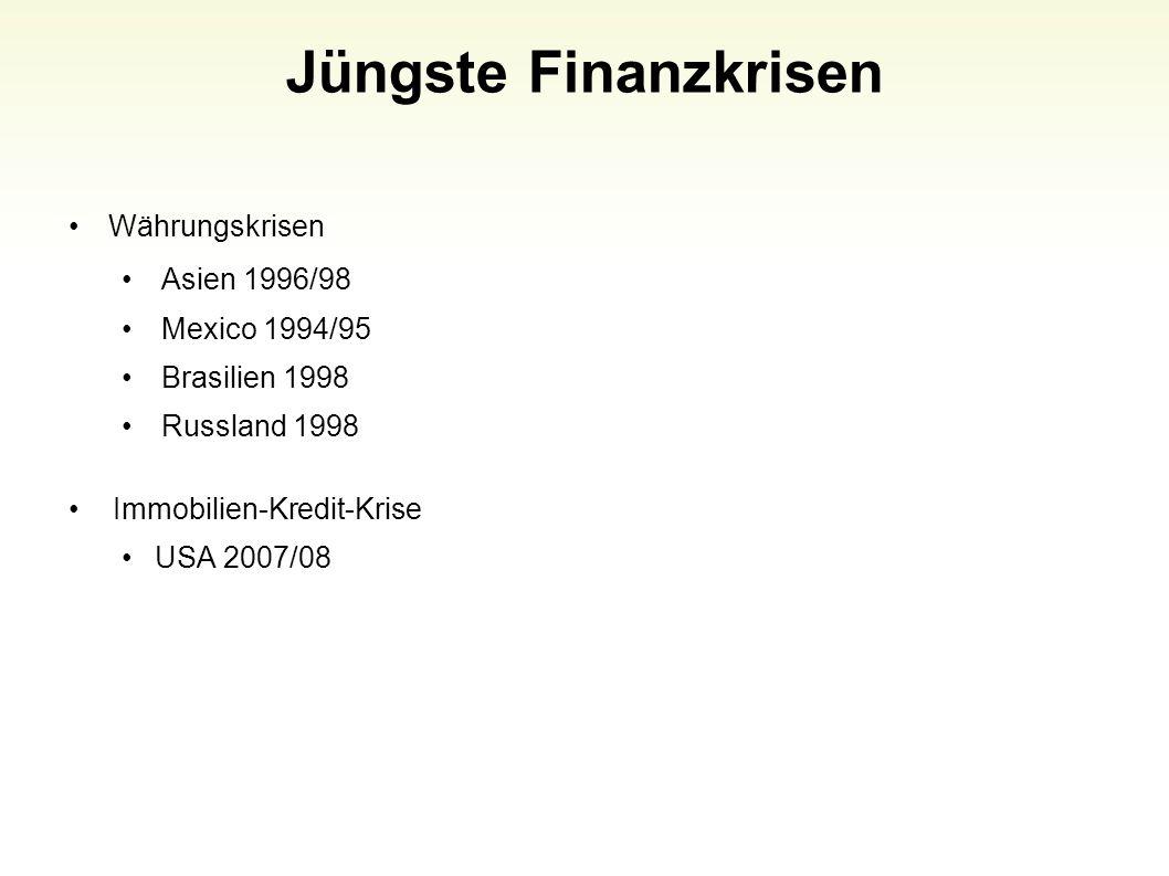 Jüngste Finanzkrisen Währungskrisen Asien 1996/98 Mexico 1994/95