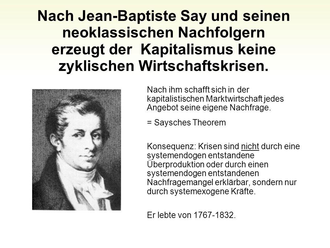 Nach Jean-Baptiste Say und seinen neoklassischen Nachfolgern erzeugt der Kapitalismus keine zyklischen Wirtschaftskrisen.