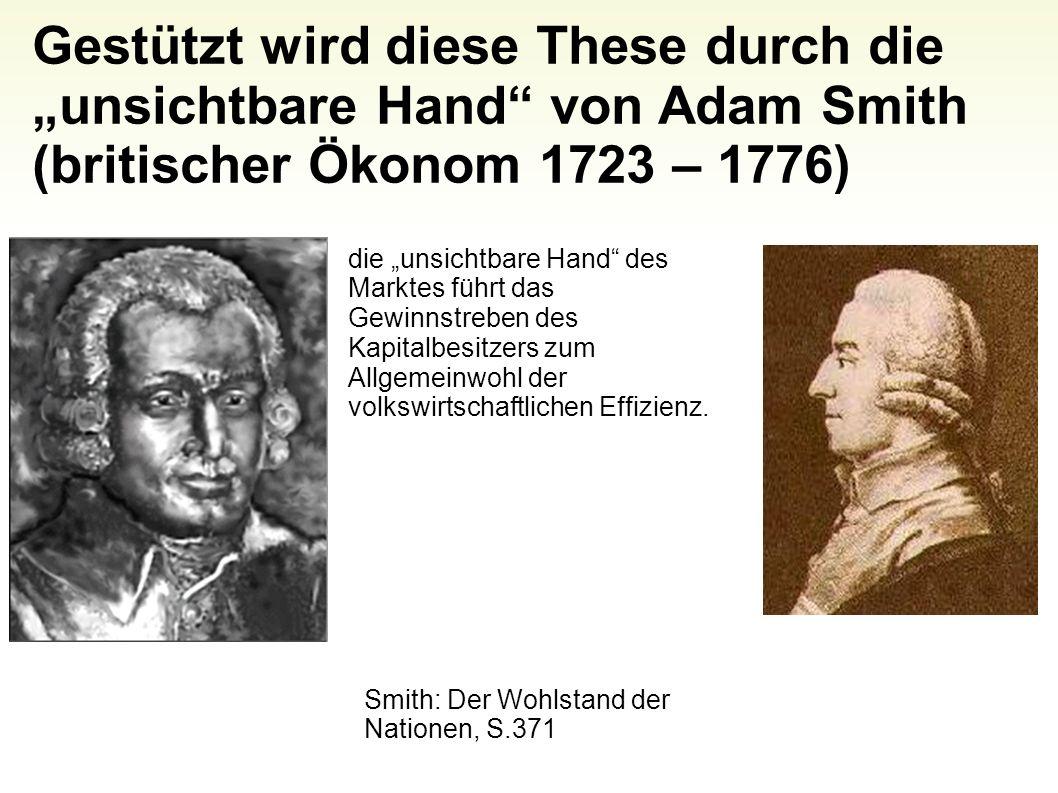 """Gestützt wird diese These durch die """"unsichtbare Hand von Adam Smith (britischer Ökonom 1723 – 1776)"""