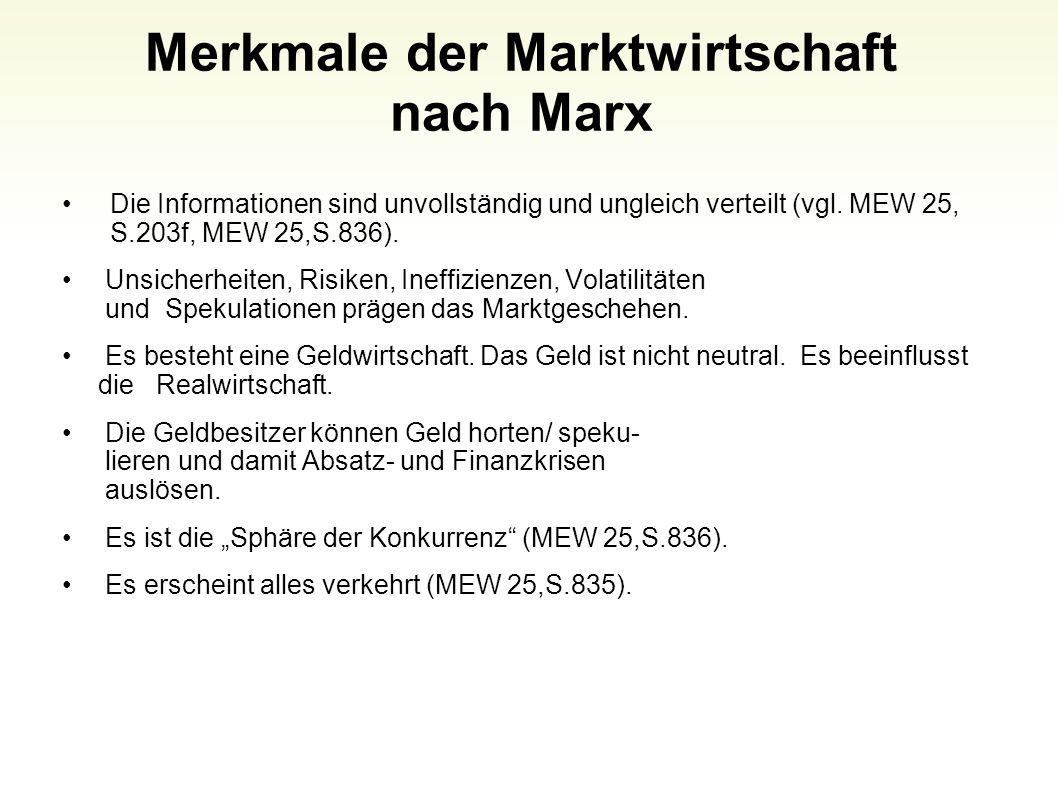 Merkmale der Marktwirtschaft nach Marx
