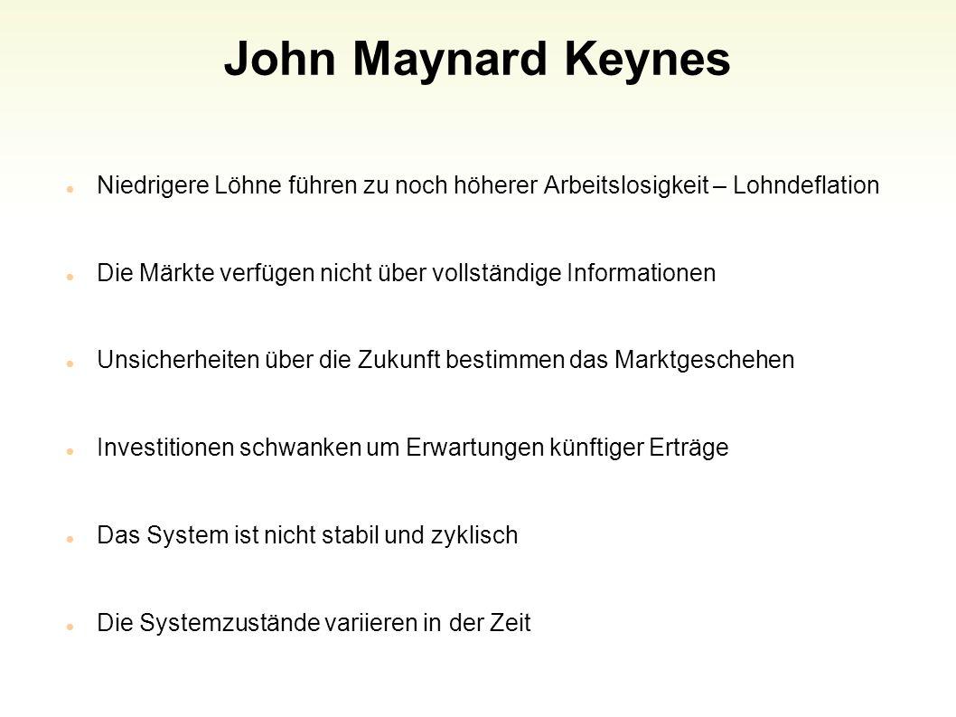John Maynard Keynes Niedrigere Löhne führen zu noch höherer Arbeitslosigkeit – Lohndeflation.