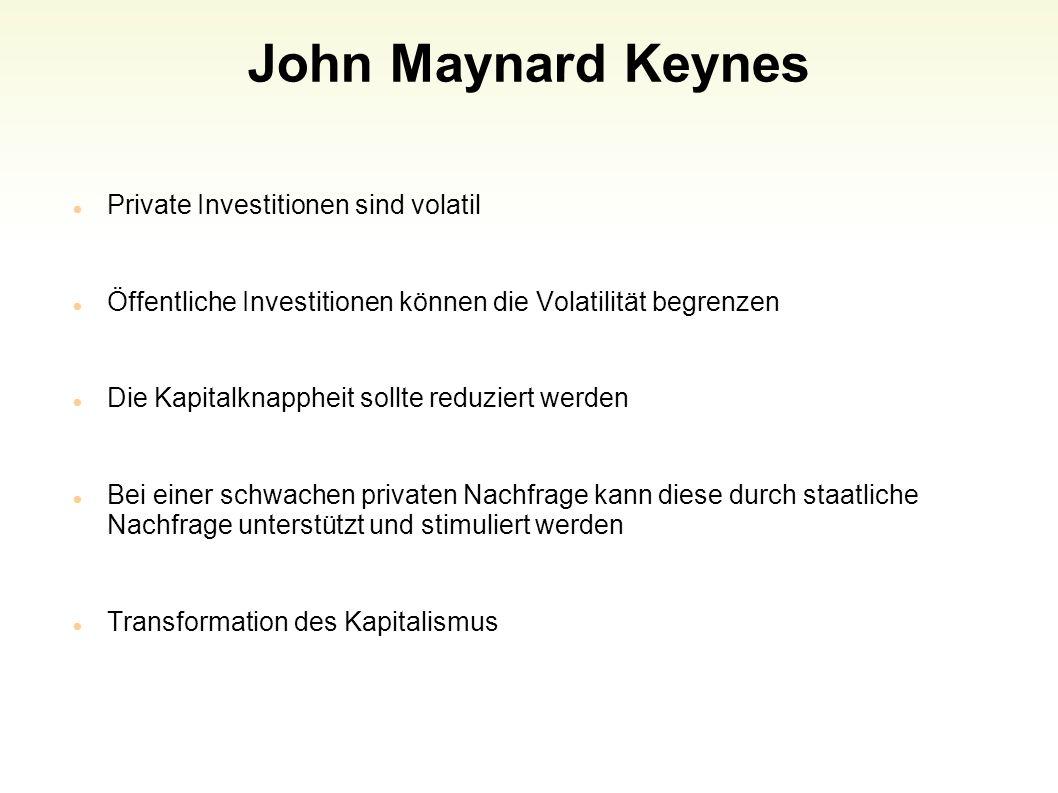 John Maynard Keynes Private Investitionen sind volatil
